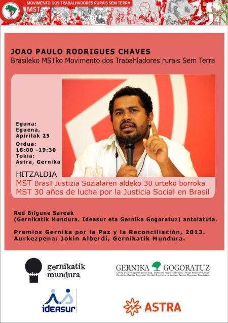 Joao Paulo Rodrigues-ek MSTren izenean Gernika Saria jasoko du