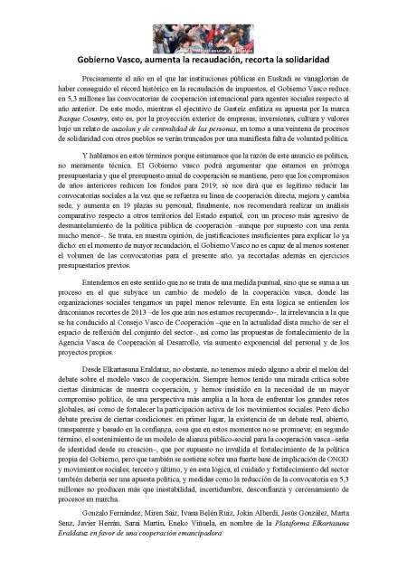Gobierno vasco recaudación solidaridad LABUR